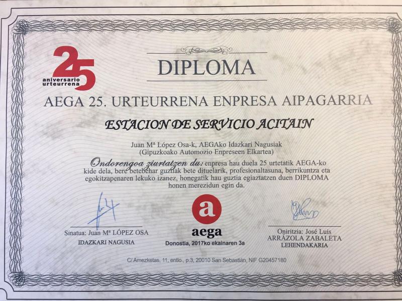 Aega 25 años, diplona de reconocimiento Estacion Servicio Acitain, AVIA - Eibar
