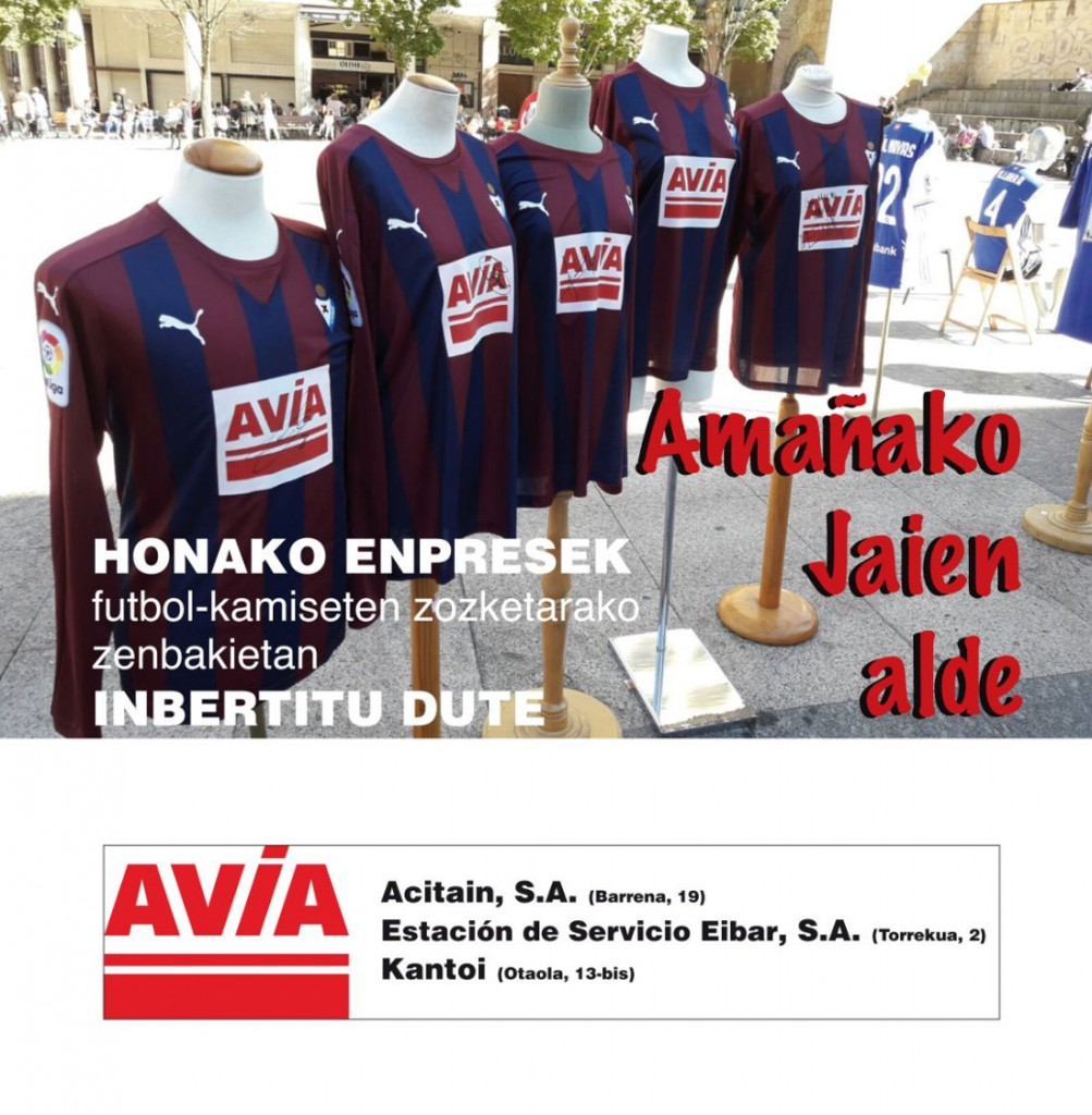 Promoción AVIA de camisetas firmadas por futbolistas pro fiestas de amaña